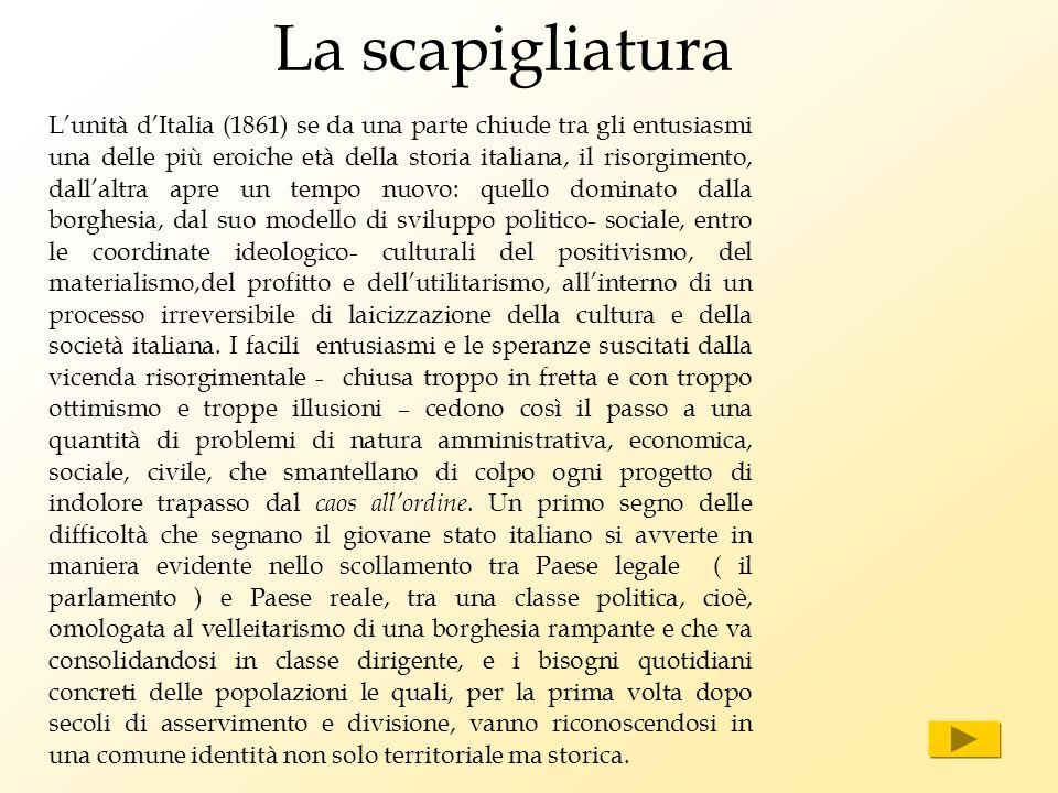 La scapigliatura Lunità dItalia (1861) se da una parte chiude tra gli entusiasmi una delle più eroiche età della storia italiana, il risorgimento, dal
