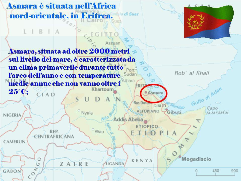 Asmara è situata nellAfrica nord-orientale, in Eritrea. Asmara, situata ad oltre 2000 metri sul livello del mare, è caratterizzata da un clima primave