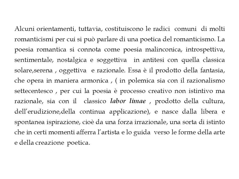 Alcuni orientamenti, tuttavia, costituiscono le radici comuni di molti romanticismi per cui si può parlare di una poetica del romanticismo. La poesia