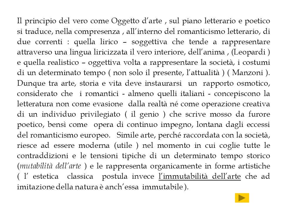 Il principio del vero come Oggetto darte, sul piano letterario e poetico si traduce, nella compresenza, allinterno del romanticismo letterario, di due