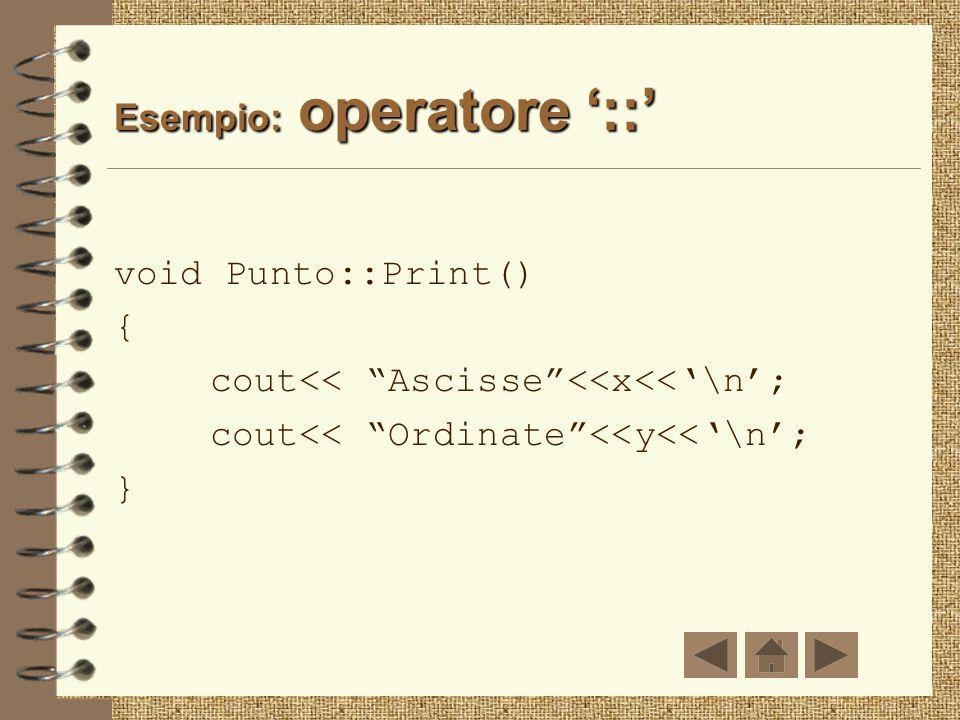 Operatore:: La definizione delle member function è associata alla classe di appartenenza mediante loperatore di scope resolution :: (operatore class r