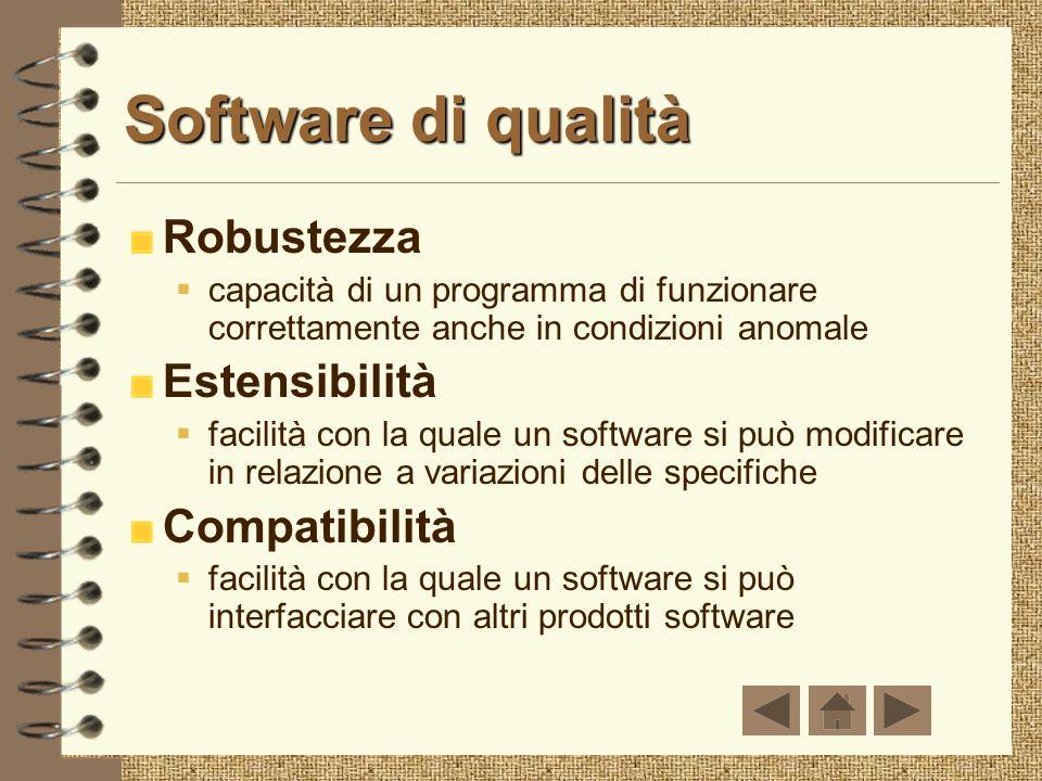 Software di qualità Robustezza capacità di un programma di funzionare correttamente anche in condizioni anomale Estensibilità facilità con la quale un software si può modificare in relazione a variazioni delle specifiche Compatibilità facilità con la quale un software si può interfacciare con altri prodotti software