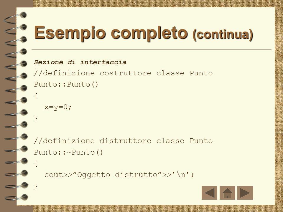 Esempio completo Sezione di interfaccia class Punto{ public: Punto();//costruttore ~Punto();//distruttore void Set(); void Print(); private: float x,