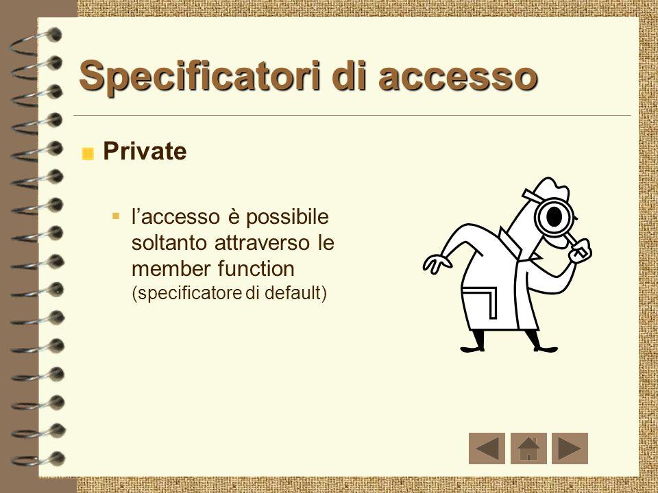 Specificatori di accesso Private laccesso è possibile soltanto attraverso le member function (specificatore di default)