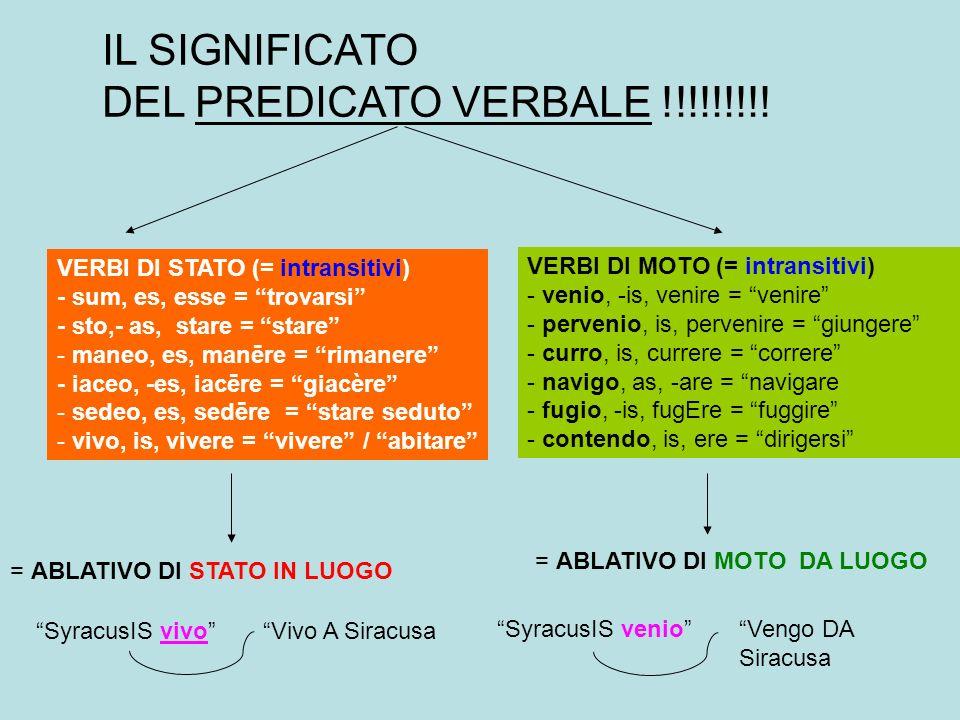 IL SIGNIFICATO DEL PREDICATO VERBALE !!!!!!!!.