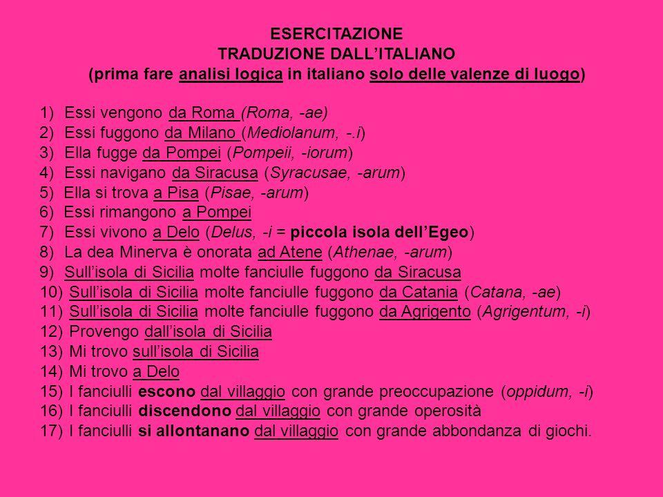 ESERCITAZIONE TRADUZIONE DALLITALIANO (prima fare analisi logica in italiano solo delle valenze di luogo) 1)Essi vengono da Roma (Roma, -ae) 2)Essi fuggono da Milano (Mediolanum, -.i) 3)Ella fugge da Pompei (Pompeii, -iorum) 4)Essi navigano da Siracusa (Syracusae, -arum) 5) Ella si trova a Pisa (Pisae, -arum) 6) Essi rimangono a Pompei 7)Essi vivono a Delo (Delus, -i = piccola isola dellEgeo) 8)La dea Minerva è onorata ad Atene (Athenae, -arum) 9)Sullisola di Sicilia molte fanciulle fuggono da Siracusa 10) Sullisola di Sicilia molte fanciulle fuggono da Catania (Catana, -ae) 11) Sullisola di Sicilia molte fanciulle fuggono da Agrigento (Agrigentum, -i) 12) Provengo dallisola di Sicilia 13) Mi trovo sullisola di Sicilia 14) Mi trovo a Delo 15) I fanciulli escono dal villaggio con grande preoccupazione (oppidum, -i) 16) I fanciulli discendono dal villaggio con grande operosità 17) I fanciulli si allontanano dal villaggio con grande abbondanza di giochi.