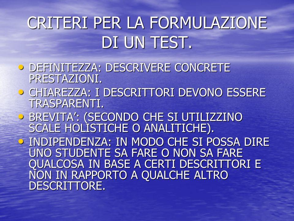 CRITERI PER LA FORMULAZIONE DI UN TEST.DEFINITEZZA: DESCRIVERE CONCRETE PRESTAZIONI.