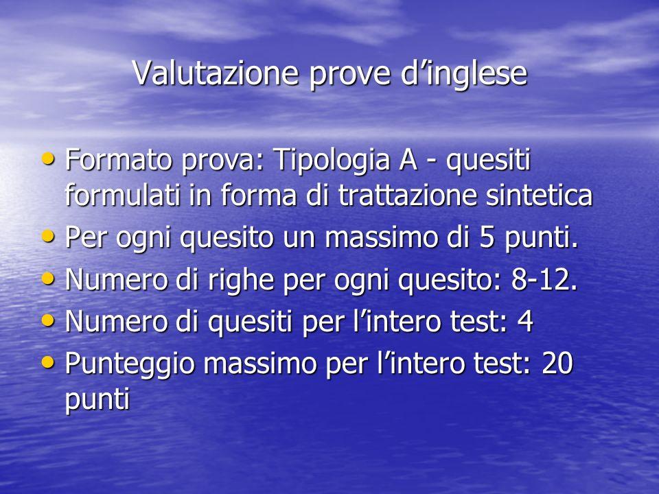 Valutazione prove dinglese Formato prova: Tipologia A - quesiti formulati in forma di trattazione sintetica Formato prova: Tipologia A - quesiti formulati in forma di trattazione sintetica Per ogni quesito un massimo di 5 punti.