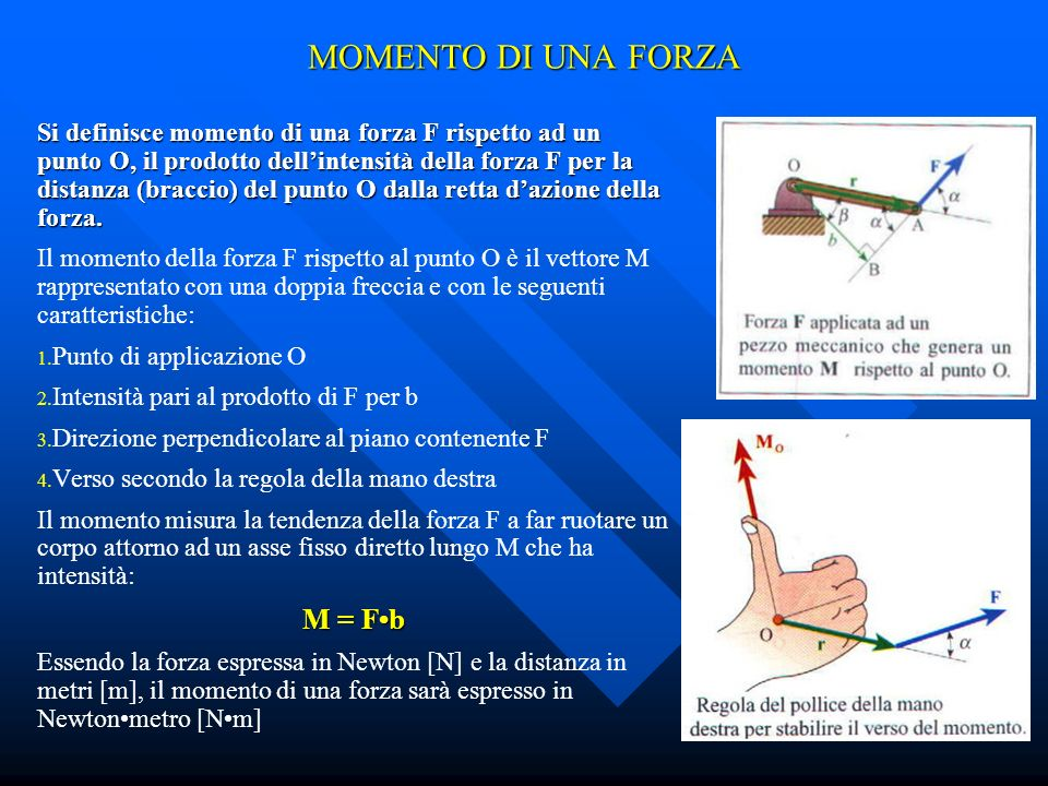 MOMENTO DI UNA FORZA Si definisce momento di una forza F rispetto ad un punto O, il prodotto dellintensità della forza F per la distanza (braccio) del punto O dalla retta dazione della forza.