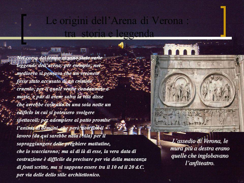 La funzione e la storia dellArena nella Verona romana Davanti all anfiteatro si tennero due dei più importanti scontri di quella campagna: la sortita degli assedianti, che permise a Pompeo di andare a cercare rinforzi, e la battaglia notturna, in cui Costantino fu preso su due fronti, da quello degli assediati e da quello dei soccorsi, anche se riuscì comunque a vincere.