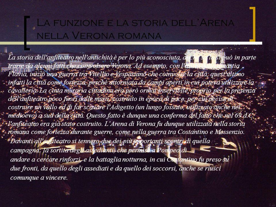 La funzione e la storia dellArena nella Verona romana Davanti all'anfiteatro si tennero due dei più importanti scontri di quella campagna: la sortita
