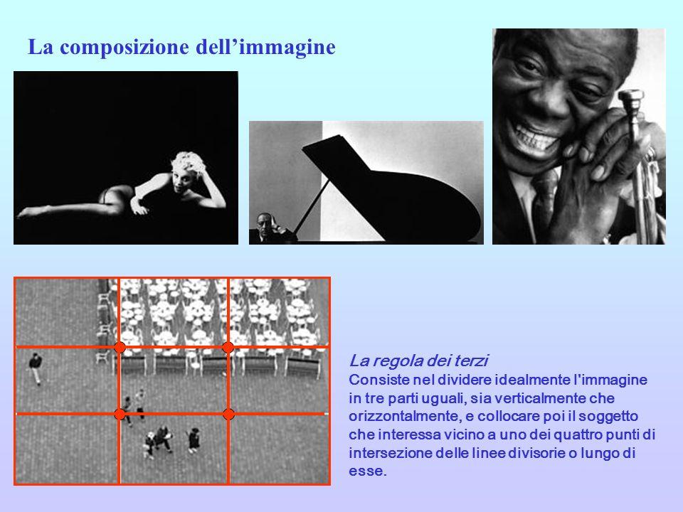 La regola dei terzi Consiste nel dividere idealmente l'immagine in tre parti uguali, sia verticalmente che orizzontalmente, e collocare poi il soggett