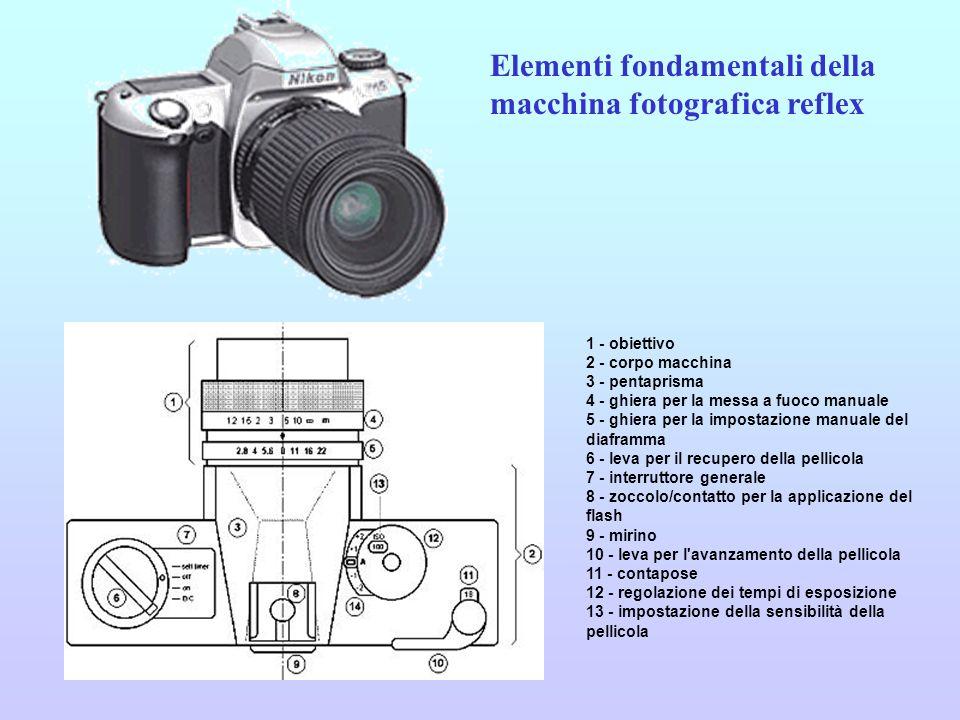 1 - obiettivo 2 - specchietto nella posizione a riposo (inclinato a 45°) 3 - specchietto durante lo scatto (in posizione sollevata) 4 - pentaprisma 5 - mirino 6 - otturatore 7 - pellicola 8 - diaframma 9 - percorso del raggio luminoso (linea tratteggiata) Elementi fondamentali della macchina fotografica reflex