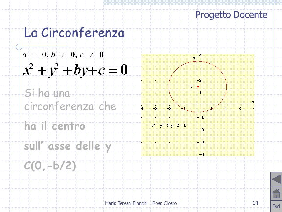 Progetto Docente Esci Maria Teresa Bianchi - Rosa Cicero 14 Si ha una circonferenza che ha il centro sull asse delle y C(0,-b/2) La Circonferenza