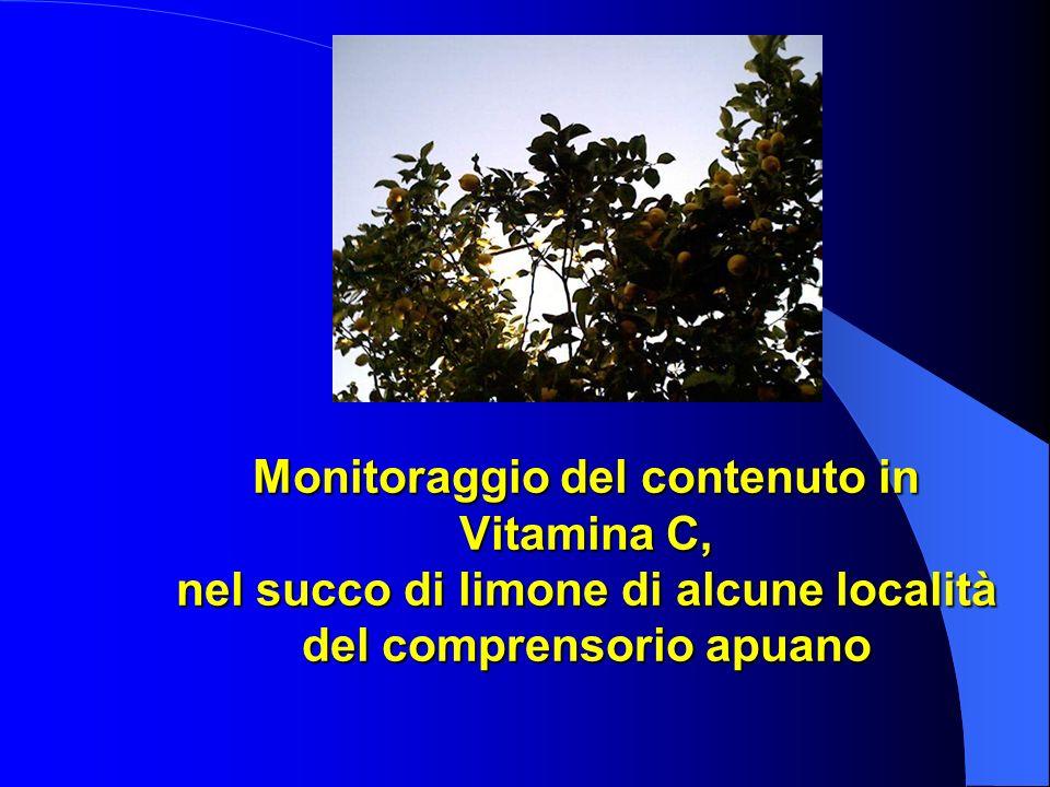 Monitoraggio del contenuto in Vitamina C, nel succo di limone di alcune località del comprensorio apuano