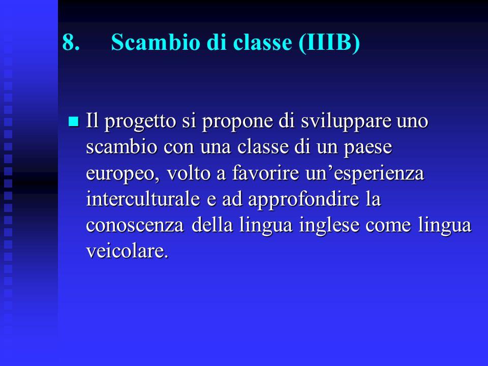 8.Scambio di classe (IIIB) Il progetto si propone di sviluppare uno scambio con una classe di un paese europeo, volto a favorire unesperienza interculturale e ad approfondire la conoscenza della lingua inglese come lingua veicolare.