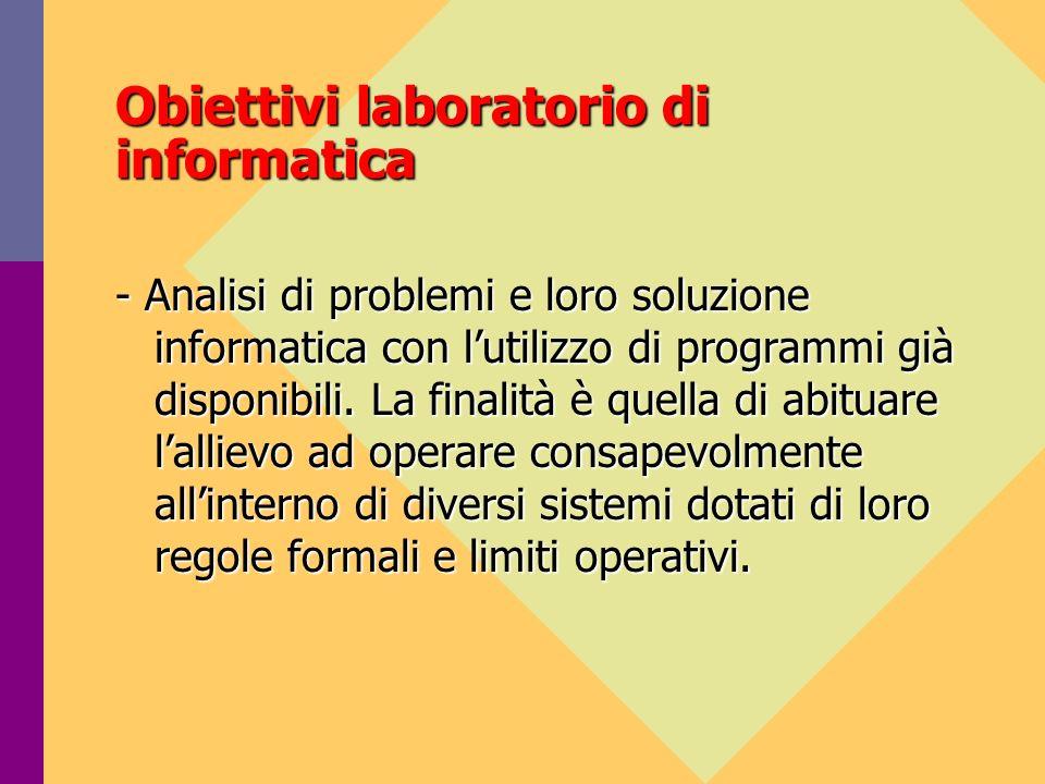 Obiettivi laboratorio di informatica Lattività di laboratorio distribuita lungo tutto larco del biennio, integra gli elementi di contenuto dei vari temi e costituisce essa stessa un momento di riflessione.