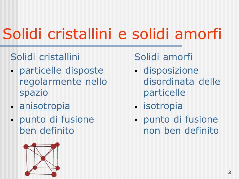 3 Solidi cristallini e solidi amorfi Solidi cristallini particelle disposte regolarmente nello spazio anisotropia punto di fusione ben definito Solidi