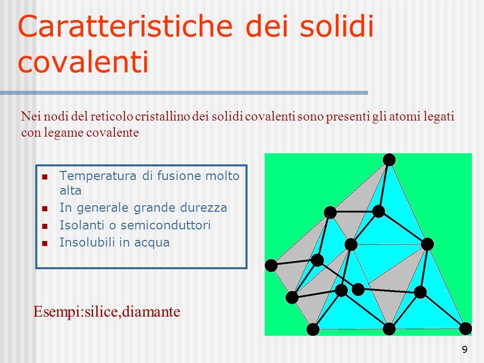 10 Il legame covalente è molto forte per cui i reticoli covalenti sono difficili da rompere ciò spiega perché questi solidi hanno,in generale, temperature di fusione molto alte I legami covalenti sono fortemente direzionati; da ciò deriva la durezza (fatte le debite eccezioni) dei solidi covalenti.