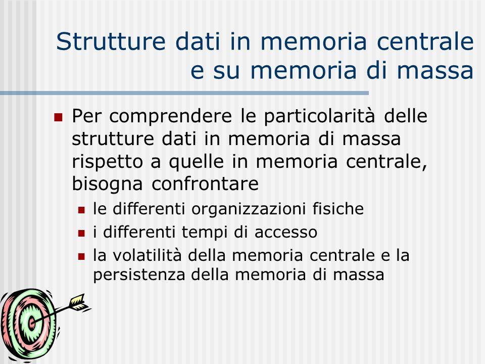 Strutture dati in memoria centrale e su memoria di massa Per comprendere le particolarità delle strutture dati in memoria di massa rispetto a quelle i