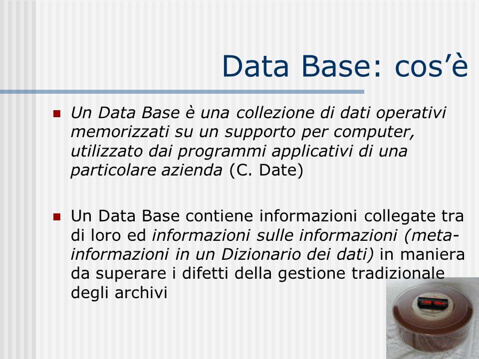 Data Base: cosè Un Data Base è una collezione di dati operativi memorizzati su un supporto per computer, utilizzato dai programmi applicativi di una p