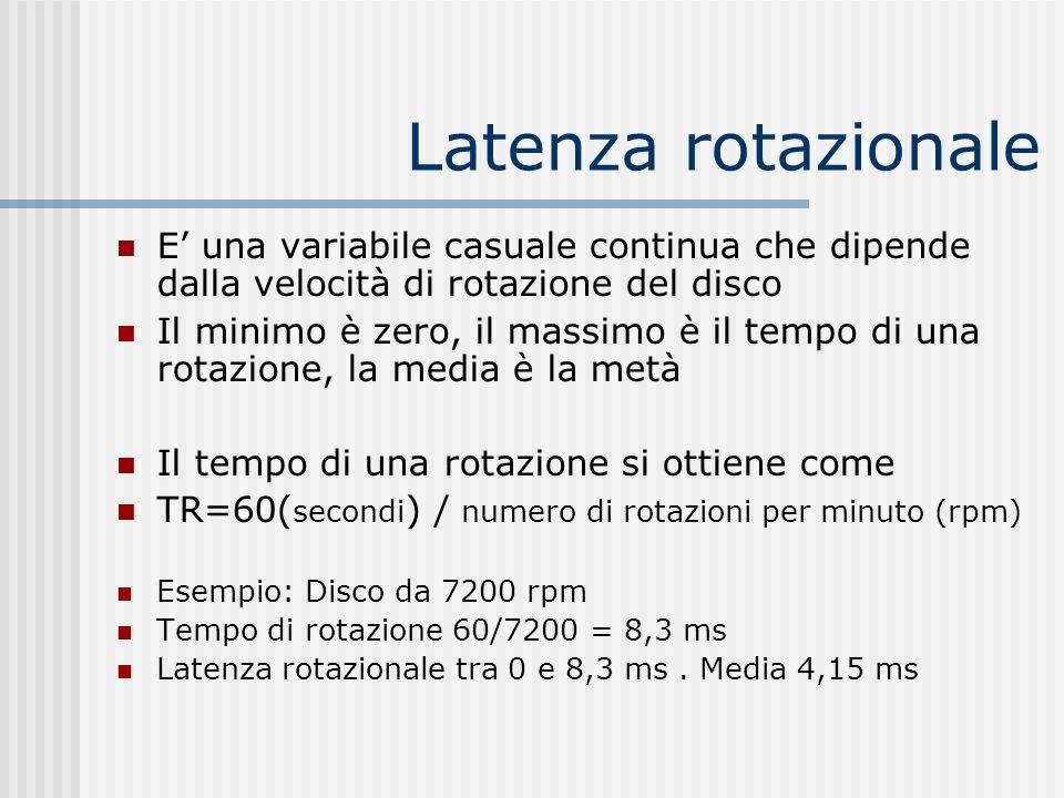 Latenza rotazionale E una variabile casuale continua che dipende dalla velocità di rotazione del disco Il minimo è zero, il massimo è il tempo di una