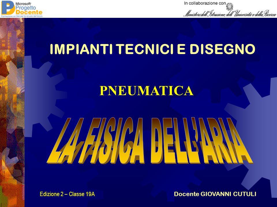 PNEUMATICA IMPIANTI TECNICI E DISEGNO Edizione 2 – Classe 19A Docente GIOVANNI CUTULI