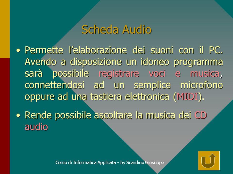 Corso di Informatica Applicata - by Scardino Giuseppe Scheda Audio Permette lelaborazione dei suoni con il PC.
