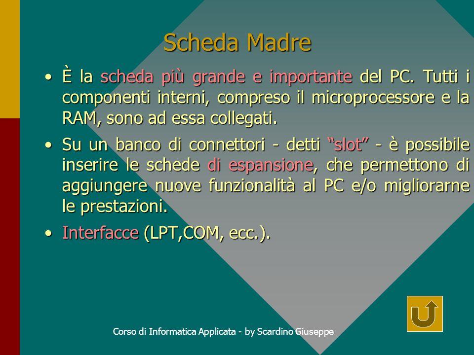 Corso di Informatica Applicata - by Scardino Giuseppe Scheda Madre È la scheda più grande e importante del PC.