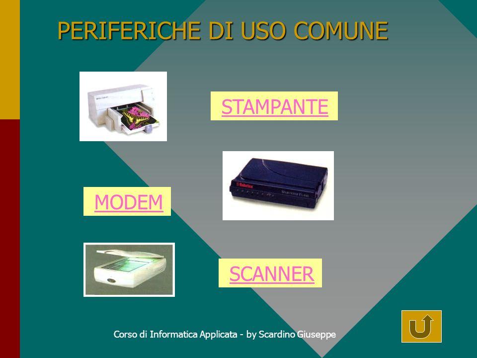 Corso di Informatica Applicata - by Scardino Giuseppe PERIFERICHE DI USO COMUNE STAMPANTE MODEM SCANNER