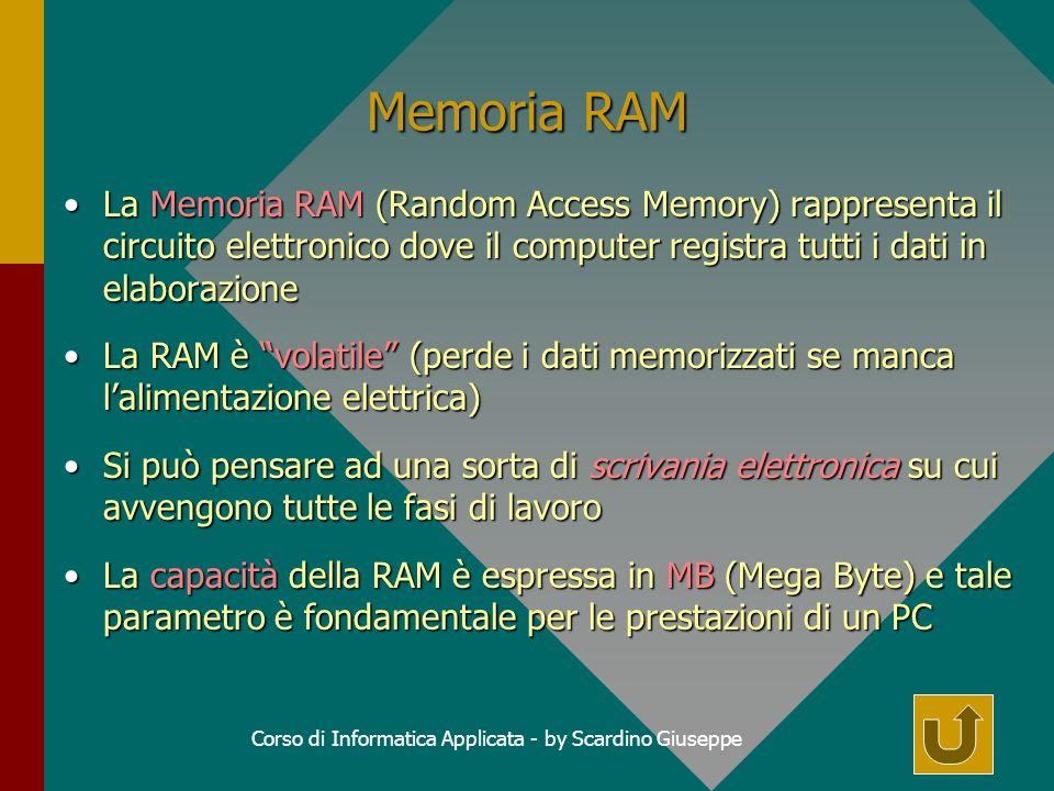 Corso di Informatica Applicata - by Scardino Giuseppe Memoria RAM La Memoria RAM (Random Access Memory) rappresenta il circuito elettronico dove il computer registra tutti i dati in elaborazioneLa Memoria RAM (Random Access Memory) rappresenta il circuito elettronico dove il computer registra tutti i dati in elaborazione La RAM è volatile (perde i dati memorizzati se manca lalimentazione elettrica)La RAM è volatile (perde i dati memorizzati se manca lalimentazione elettrica) Si può pensare ad una sorta di scrivania elettronica su cui avvengono tutte le fasi di lavoroSi può pensare ad una sorta di scrivania elettronica su cui avvengono tutte le fasi di lavoro La capacità della RAM è espressa in MB (Mega Byte) e tale parametro è fondamentale per le prestazioni di un PCLa capacità della RAM è espressa in MB (Mega Byte) e tale parametro è fondamentale per le prestazioni di un PC
