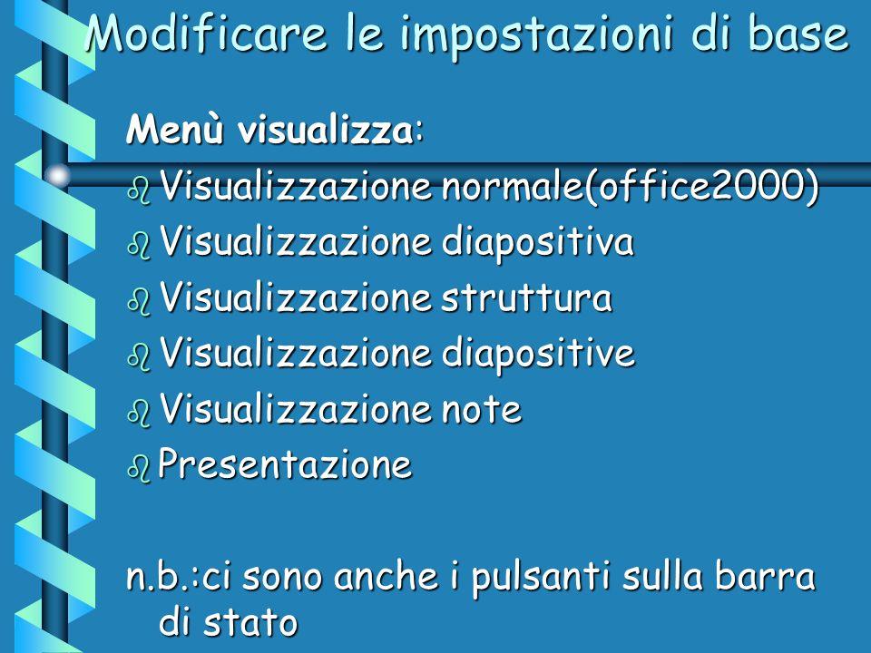 Modificare le impostazioni di base Menù visualizza: b Visualizzazione normale(office2000) b Visualizzazione diapositiva b Visualizzazione struttura b Visualizzazione diapositive b Visualizzazione note b Presentazione n.b.:ci sono anche i pulsanti sulla barra di stato