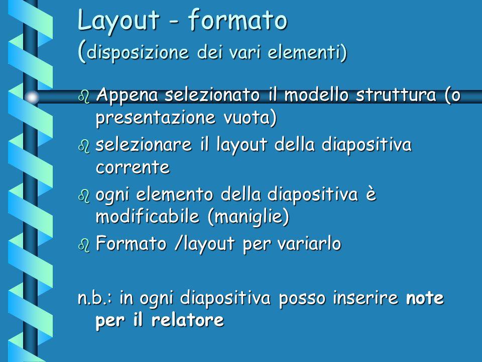 Layout - formato ( disposizione dei vari elementi) b Appena selezionato il modello struttura (o presentazione vuota) b selezionare il layout della diapositiva corrente b ogni elemento della diapositiva è modificabile (maniglie) b Formato /layout per variarlo n.b.: in ogni diapositiva posso inserire note per il relatore