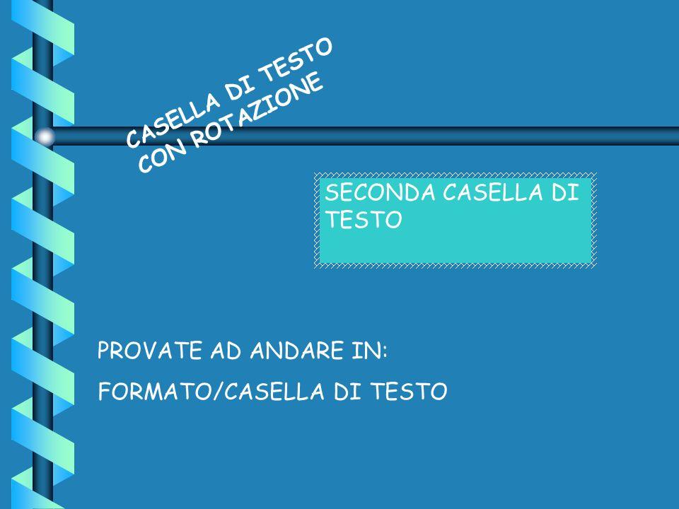 CASELLA DI TESTO CON ROTAZIONE SECONDA CASELLA DI TESTO PROVATE AD ANDARE IN: FORMATO/CASELLA DI TESTO