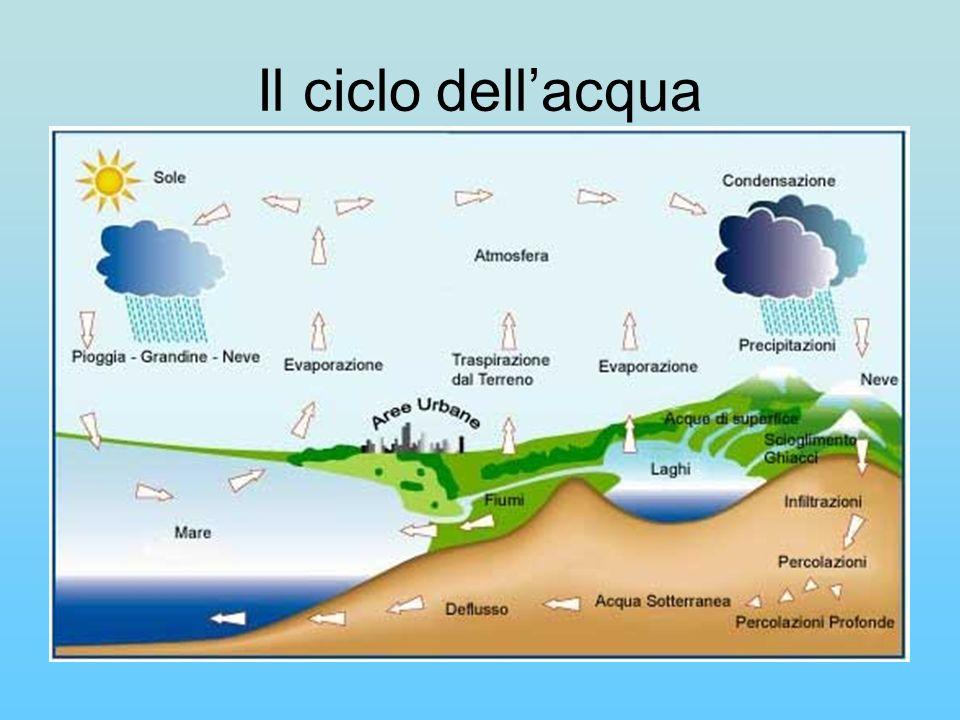 Il ciclo dellacqua può anche essere espresso in termini quantitativi: il 97,3 % delle risorse idriche terrestri sono contenute negli oceani.