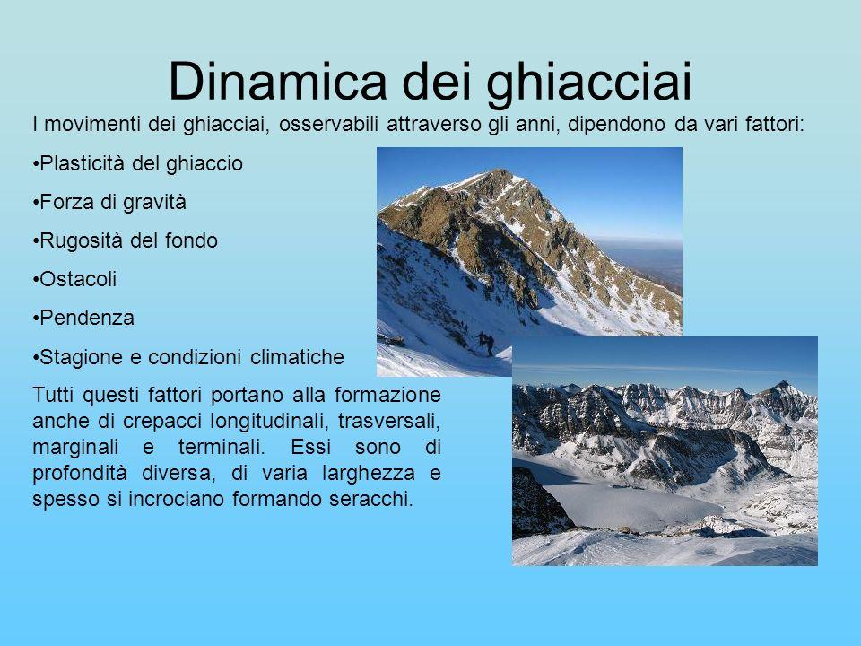 Dinamica dei ghiacciai I movimenti dei ghiacciai, osservabili attraverso gli anni, dipendono da vari fattori: Plasticità del ghiaccio Forza di gravità