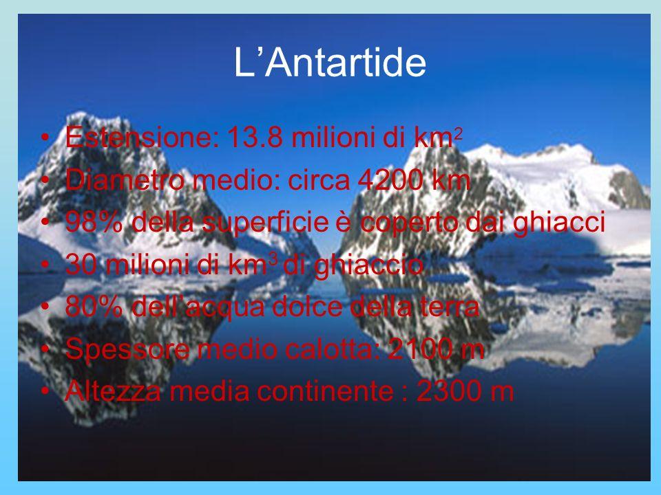 LAntartide Estensione: 13.8 milioni di km 2 Diametro medio: circa 4200 km 98% della superficie è coperto dai ghiacci 30 milioni di km 3 di ghiaccio 80