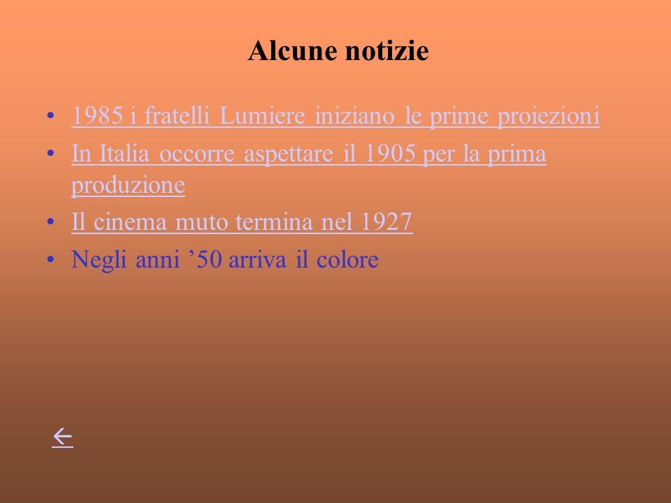 1985 i fratelli Lumiere iniziano le prime proiezioni In Italia occorre aspettare il 1905 per la prima produzioneIn Italia occorre aspettare il 1905 per la prima produzione Il cinema muto termina nel 1927 Negli anni 50 arriva il colore Alcune notizie