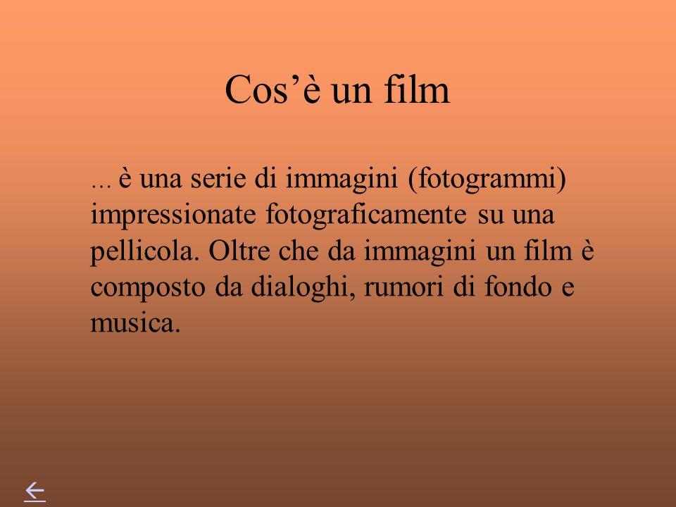 Cosè un film … è una serie di immagini (fotogrammi) impressionate fotograficamente su una pellicola.