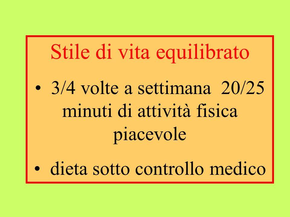 Stile di vita equilibrato 3/4 volte a settimana 20/25 minuti di attività fisica piacevole dieta sotto controllo medico