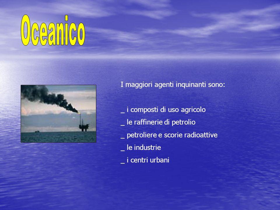 I maggiori agenti inquinanti sono: _ i composti di uso agricolo _ le raffinerie di petrolio _ petroliere e scorie radioattive _ le industrie _ i centr