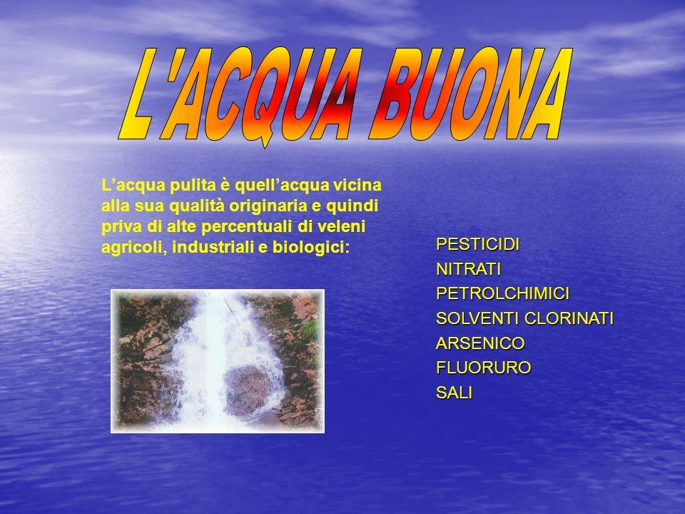 Lacqua pulita è quellacqua vicina alla sua qualità originaria e quindi priva di alte percentuali di veleni agricoli, industriali e biologici:PESTICIDI
