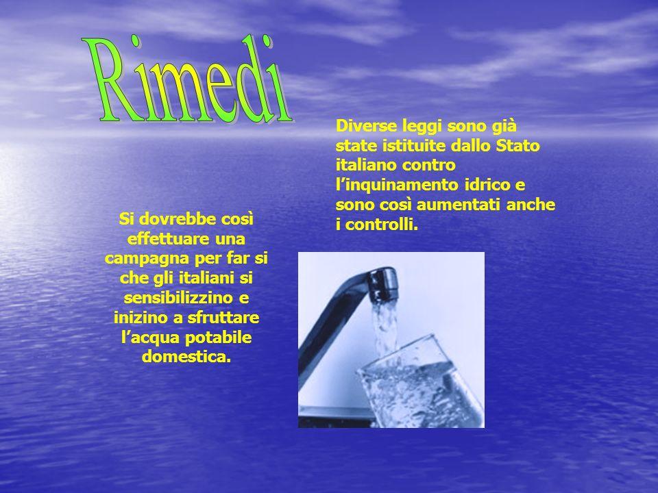 Diverse leggi sono già state istituite dallo Stato italiano contro linquinamento idrico e sono così aumentati anche i controlli. Si dovrebbe così effe
