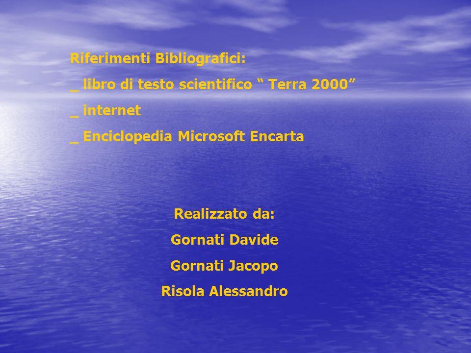 Riferimenti Bibliografici: _ libro di testo scientifico Terra 2000 _ internet _ Enciclopedia Microsoft Encarta Realizzato da: Gornati Davide Gornati J