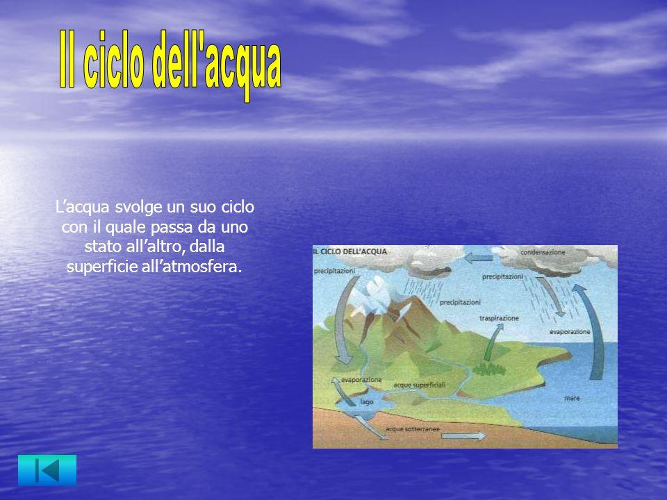 Lacqua svolge un suo ciclo con il quale passa da uno stato allaltro, dalla superficie allatmosfera.