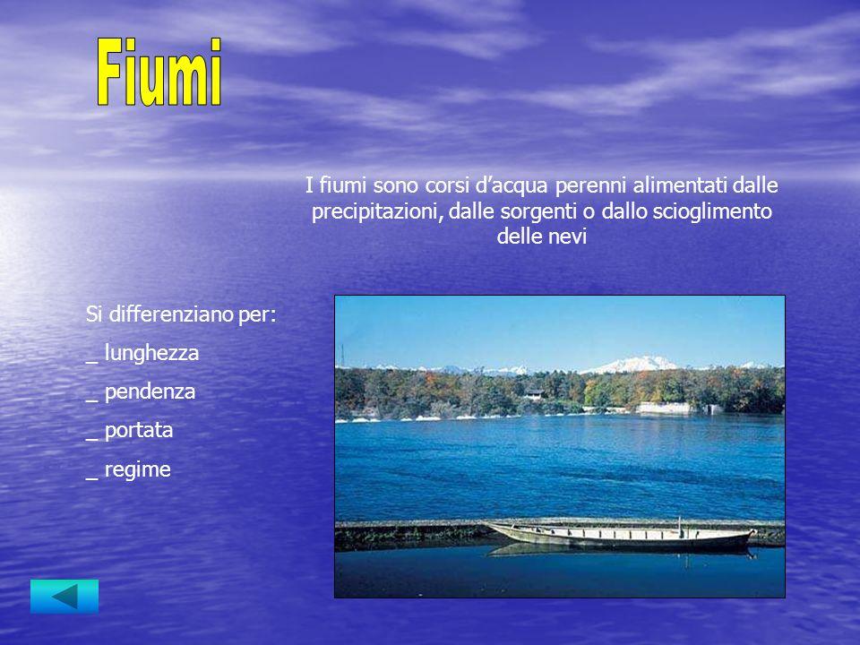 I fiumi sono corsi dacqua perenni alimentati dalle precipitazioni, dalle sorgenti o dallo scioglimento delle nevi Si differenziano per: _ lunghezza _