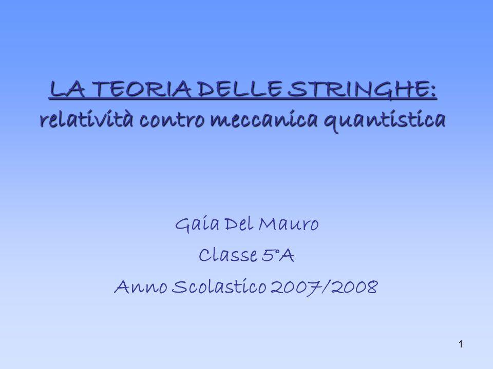 1 LA TEORIA DELLE STRINGHE: relatività contro meccanica quantistica Gaia Del Mauro Classe 5°A Anno Scolastico 2007/2008