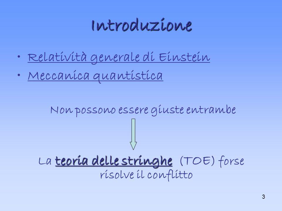 3 Introduzione Relatività generale di Einstein Meccanica quantistica Non possono essere giuste entrambe teoria delle stringhe La teoria delle stringhe ( TOE ) forse risolve il conflitto
