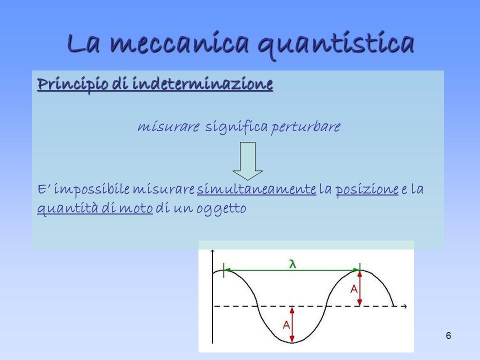 6 La meccanica quantistica Principio di indeterminazione misurare significa perturbare E impossibile misurare simultaneamente la posizione e la quantità di moto di un oggetto