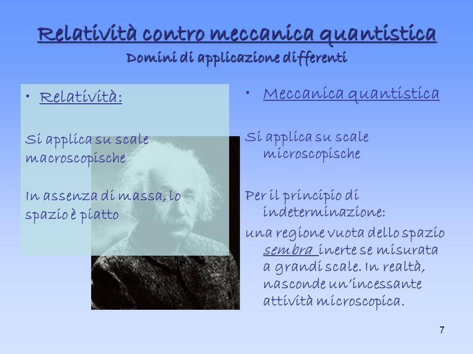 7 Relatività contro meccanica quantistica Domini di applicazione differenti Meccanica quantistica Si applica su scale microscopische Per il principio di indeterminazione: una regione vuota dello spazio sembra inerte se misurata a grandi scale.